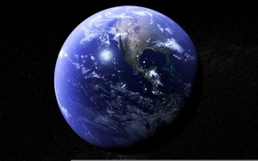 Picture space, stars, surface, planet, Earth, continents, oceans
