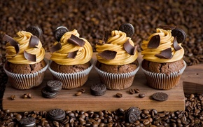 Picture coffee, chocolate, cookies, cake, cream, cakes, cupcakes, OREO