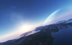 Picture the sky, water, mountains, star, Planet, comet