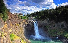 Wallpaper waterfall, rocks, forest