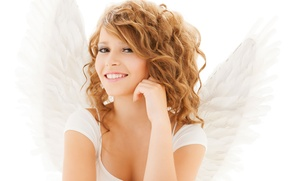 Picture eyes, look, girl, face, smile, wings, angel, hands
