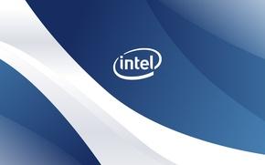Picture wave, logo, logo, Intel, white, blue, wave, Intel, prosessor
