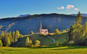 Picture road, greens, field, forest, summer, the sky, grass, clouds, trees, mountains, hill, Italy, Church, Sunny, …