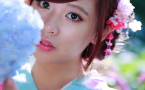 Picture eyes, look, face, background, lips, Asian, beauty