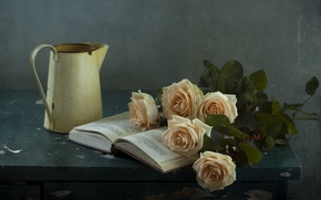 Picture roses, book, still life
