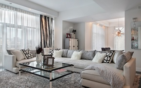 Picture design, photo, table, sofa, interior, pillow, living room