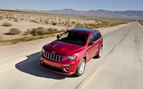 Picture Red, Road, Machine, Day, SUV, Jeep, Grand Cherokee, The front, In Motion