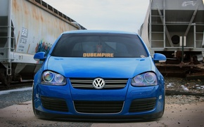 Picture volkswagen, graffiti, golf, blue, tuning, train, germany, low, stance, mk5