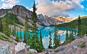Picture trees, mountains, lake, stones, Banff National Park, Alberta, Canada, Moraine Lake