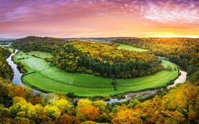 Picture trees, nature, Wales, Symonds Yat Rock, the river Wye