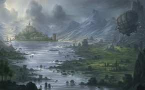 Picture mountains, river, castle, valley, art, the airship