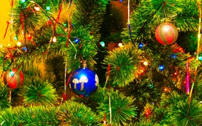 Picture balls, decoration, branches, toys, tree, New Year, Christmas, garland, Christmas, New Year, Christmas, Christmas