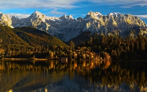 Picture forest, mountains, river, house