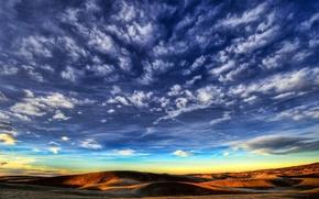 Wallpaper hills, the sky, desert, Clouds