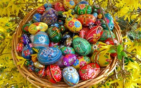 Picture BACKGROUND, PATTERNS, FLOWERS, COLORED, BRANCHES, EASTER, BASKET, EGGS, BASKET, DRAWINGS, NETWORK