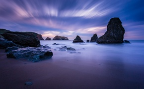 Picture the sky, Strait, stones, the ocean, rocks, shore, the evening, CA, calm, USA, blue, lilac