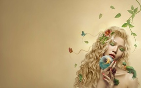 Picture summer, leaves, girl, butterfly, bird, fish, blonde