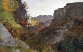 Picture landscape, mountains, rocks, picture, gorge, Carlos de Haes, The Picos de Europa