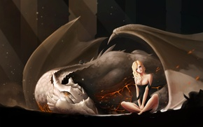 Picture girl, dragon, blonde, art, the little witch