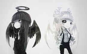 Picture white, black, wings, Angel, the demon, horns, halo