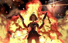 Picture girl, weapons, fire, guns, explosions, anime, art, greetload, koutetsujou no kabaneri