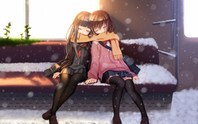 Picture nana mikoto, snow, art, Schoolgirls, anime, train, scarf, butterfly, seat, the sun, grass, girls, the ...