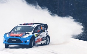 Picture Ford, Snow, Turn, Skid, Rally Sweden, WRC, Rally, Fiesta, The front