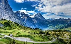 Picture road, mountains, house, Switzerland, the pass Grosse Scheidegg, The Eiger, Eiger