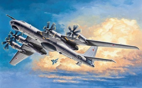 Picture the plane, art, bomber, the, missile, screw, strategic, Soviet, quick, Tu-95MS, turboprop, Intercontinental, Bear, the …