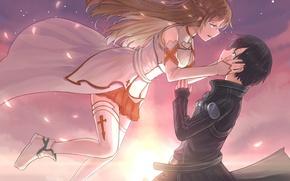 Picture two, tony zhazha, art, guy, anime, drop, petals, girl, sword art online, yuuki asuna, the ...