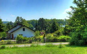 Picture road, greens, summer, grass, trees, landscape, house, glade, the fence, Germany, garden, Wetzlar