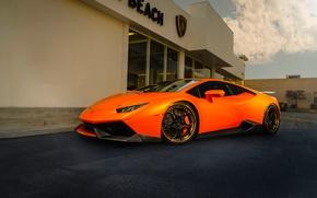 Picture Lamborghini, Orange, Front, Color, Supercar, Wheels, ADV.1, Huracan, LP610-4