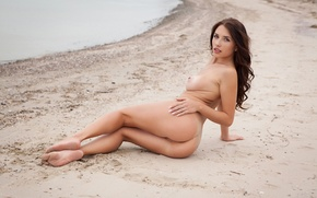 Wallpaper ass, chest, look, girl, pose, naked, figure, brunette, hairstyle, lies, on the sand, sexy, quite, ...