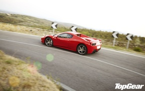 Picture road, red, view, turn, Ferrari, supercar, Ferrari, 458, side, top gear, Italy, spider, the best …