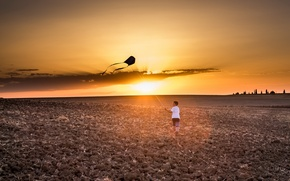 Picture field, sunset, boy