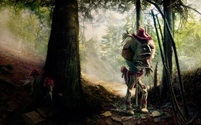 Picture forest, mushrooms, monster