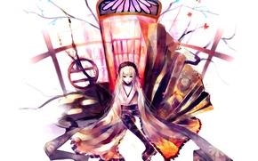Picture the door, white background, kimono, rozen maiden, suigintou, Rozen maiden