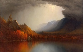 Picture autumn, forest, landscape, clouds, lake, picture, Sanford Robinson Gifford