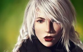 Wallpaper look, girl, freckles, scarf, blonde, Nefillim, art