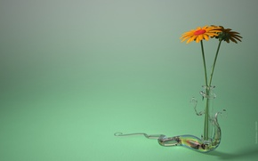 Wallpaper vase, green, minimalism
