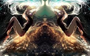 Wallpaper art, ajahweea, anime, league of legends, lights, girl, sona, the sky