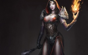Picture girl, weapons, background, fire, magic, art, hood, Mace