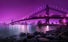 Picture Bridge, Night, The city, Shore