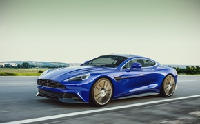 Picture Aston Martin, Blue, Speed, Road, 2013, Vanquish, Sport Car, by Laffonte