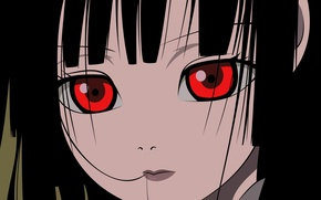 Picture look, close-up, face, red eyes, bangs, Enma Ai, Jigoku Shoujo, Hell girl, Hell girl