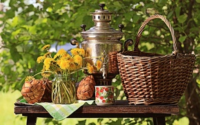 Picture greens, the sun, flowers, nature, table, basket, bouquet, yellow, Cup, Bank, still life, dandelions, samovar, ...