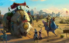 Picture landscape, castle, knight, castle, game wallpapers, Royal Quest, knight, pack animals