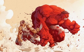 Picture Wolverine, Hulk, Wolverine, Red Hulk, Tonton Revolver