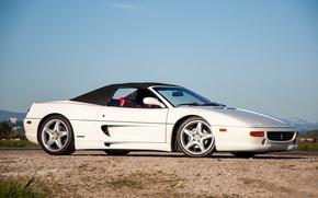 Picture Ferrari, white, road, sky, Spider, 355