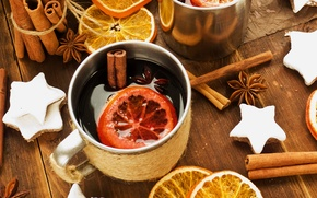 Picture winter, wine, oranges, sticks, New Year, cookies, Christmas, Cup, stars, drink, cinnamon, holidays, spices, star ...